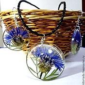 Украшения handmade. Livemaster - original item Set Cornflower summer (real cornflowers in jewelry resin). Handmade.