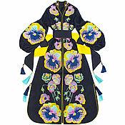 Одежда handmade. Livemaster - original item Navy blue dress with floral embroidery. Handmade.