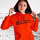 Women's sweatshirt orange, cool, bright hoodie, Sweater Jackets, Novosibirsk,  Фото №1