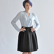 Одежда handmade. Livemaster - original item Black skirt made of thick material with pleats. Handmade.