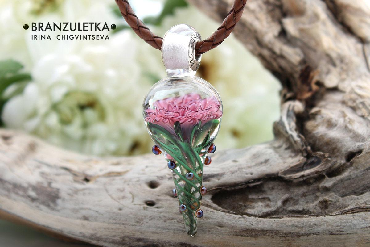 Rose pendant beads lampwork artisan implosion pink flower shop rose pendant beads lampwork artisan implosion pink flower branzuletka branzuletka aloadofball Choice Image