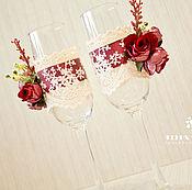 """Свадебный салон ручной работы. Ярмарка Мастеров - ручная работа В наличии!!  Свадебные бокалы """"Долго и счастливо"""". Handmade."""
