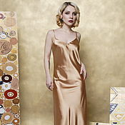 Одежда handmade. Livemaster - original item Evening dress-a combination of Golden satin. Handmade.