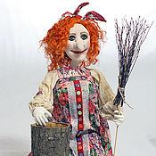 Stuffed Toys handmade. Livemaster - original item Redhead Baba Yaga with a stupa and a broom. Handmade.