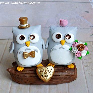 Свадебный салон ручной работы. Ярмарка Мастеров - ручная работа Фигурки на свадебный торт Совы. Handmade.