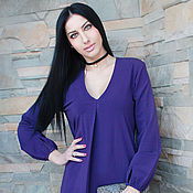 """Одежда ручной работы. Ярмарка Мастеров - ручная работа Последний размер! Стильное платье """"Фиолет"""" с V-образным вырезом. Handmade."""