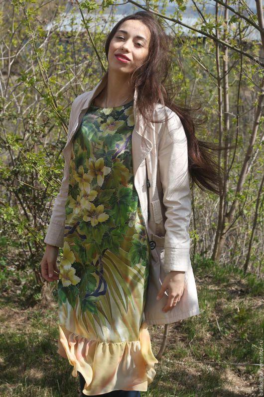 Большие размеры ручной работы. Ярмарка Мастеров - ручная работа. Купить Шелковое платье батик Оливковые сны. Handmade. Батик