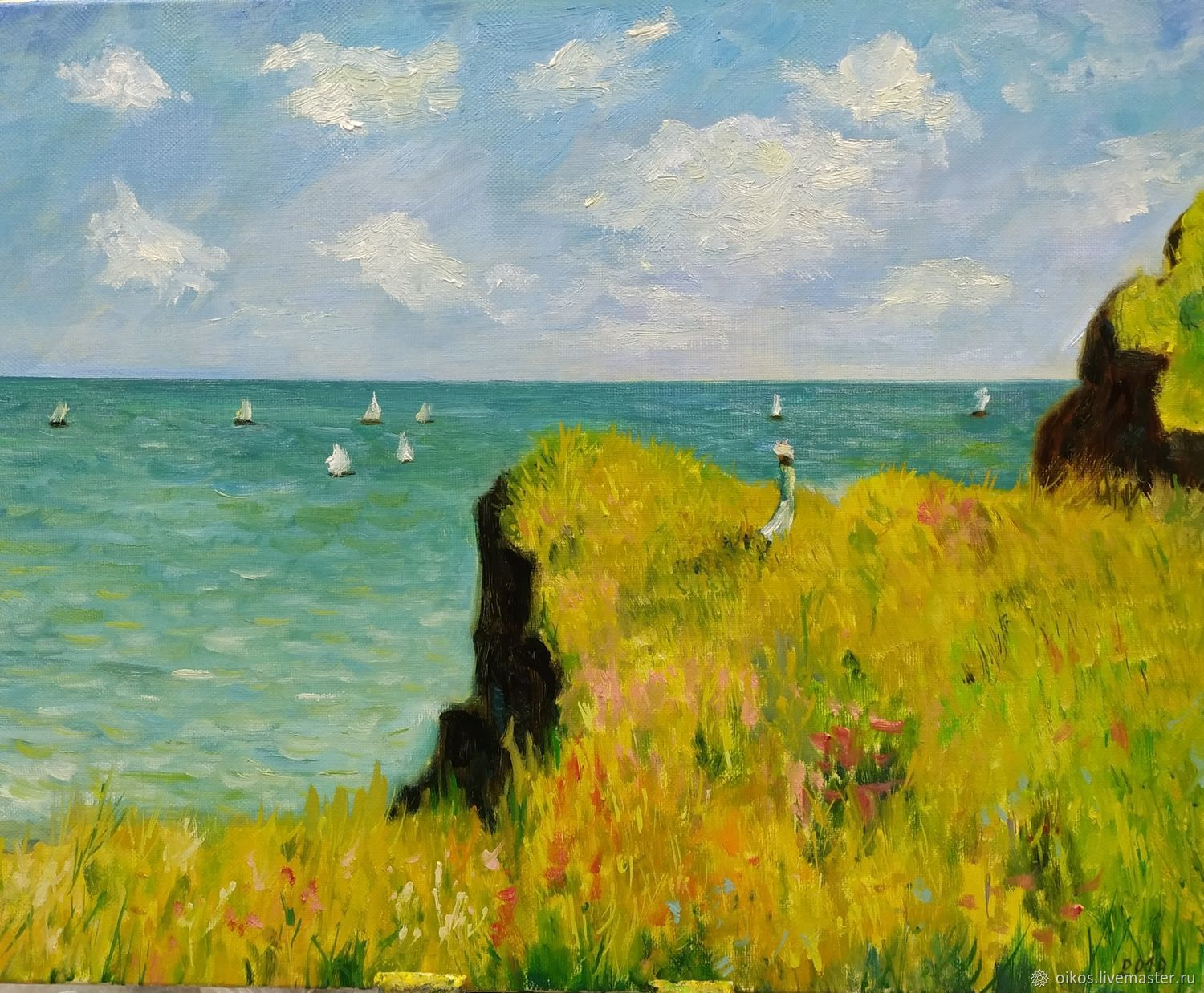 Oil painting a free copy of a Monet painting, sea coast, Pictures, St. Petersburg,  Фото №1