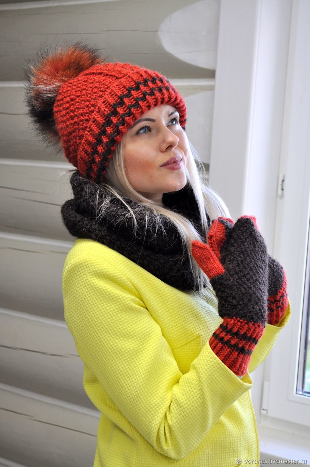Knitted set - hat, cowl and mittens, Accessories kits, Moscow, Фото №1