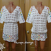 Одежда handmade. Livemaster - original item Summer tunic crochet in the technique of non-separable the knitting.. Handmade.