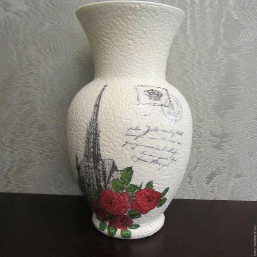 Вазы ручной работы. Ярмарка Мастеров - ручная работа. Купить Вазы ручной работы. Стеклянная ваза Монохром с розами. Handmade.