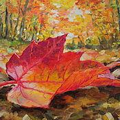 """Картины и панно ручной работы. Ярмарка Мастеров - ручная работа Картина маслом """"Осенний лист"""". Handmade."""