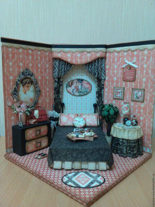 """Кукольный дом ручной работы. Ярмарка Мастеров - ручная работа. Купить Румбокс """"Mon Amour"""". Handmade. Ярко-красный"""