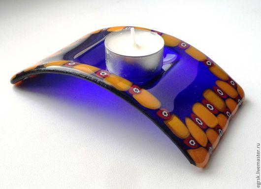 """Подсвечники ручной работы. Ярмарка Мастеров - ручная работа. Купить Подсвечник """"Фиолет"""". Handmade. Тёмно-фиолетовый, подсвечник из стекла, стекло"""