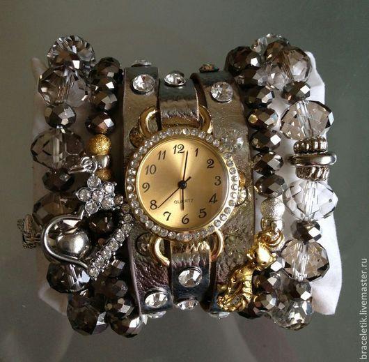 Браслеты ручной работы. Ярмарка Мастеров - ручная работа. Купить Сет браслетов с часами СИЛЬВЕР. Handmade. Серебряный, часы с браслетом