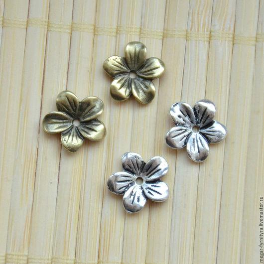 Для украшений ручной работы. Ярмарка Мастеров - ручная работа. Купить Цветок  13 мм. Handmade. Серебряный, цветок чашечка