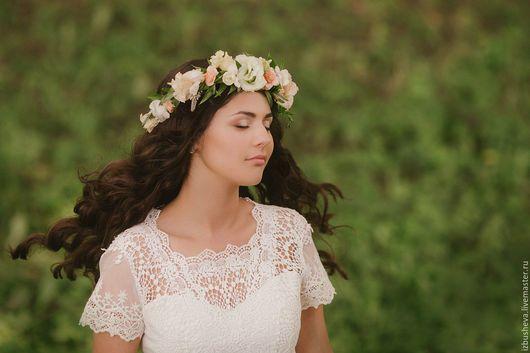 Платья ручной работы. Ярмарка Мастеров - ручная работа. Купить Платье льняное свадебное. Handmade. Белый, рустик, хлопковое кружево