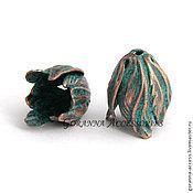 Фурнитура ручной работы. Ярмарка Мастеров - ручная работа Колпачок-шапочка Тюльпан, США, окислившаяся медь. Handmade.