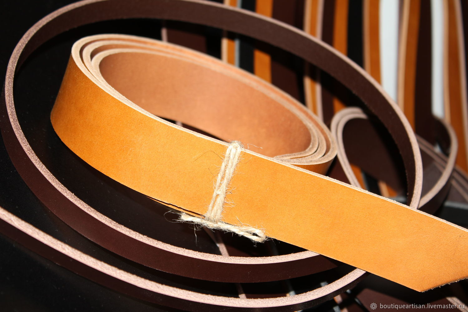 Belt blank of the first grade.Italy, Leather, Sterlitamak,  Фото №1