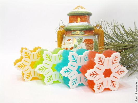"""Мыло ручной работы. Ярмарка Мастеров - ручная работа. Купить """"Снежинка"""" сувенирное мыло ручной работы. Handmade. Новый Год"""