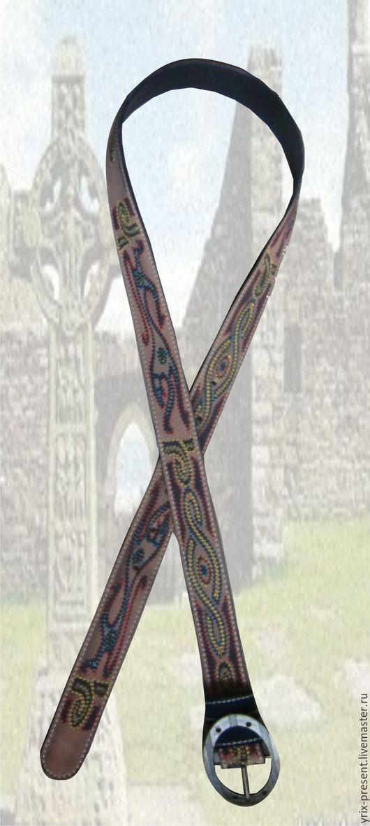 """Пояса, ремни ручной работы. Ярмарка Мастеров - ручная работа. Купить Ремень """"Кельтские львы"""". Handmade. Разноцветный"""