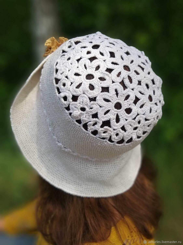 Summer crocheted hat - boho Panama linen with a rose, Panama, Ekaterinburg,  Фото №1