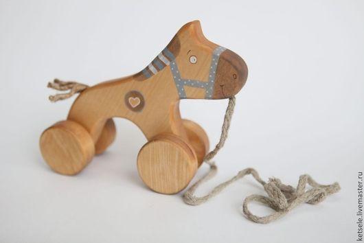Игрушки животные, ручной работы. Ярмарка Мастеров - ручная работа. Купить Лошадка на веревочке в голубом. Handmade. Игрушка из дерева, игрушка