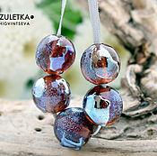 Материалы для творчества manualidades. Livemaster - hecho a mano Light amethyst blue shine - beads glass textured round ball. Handmade.