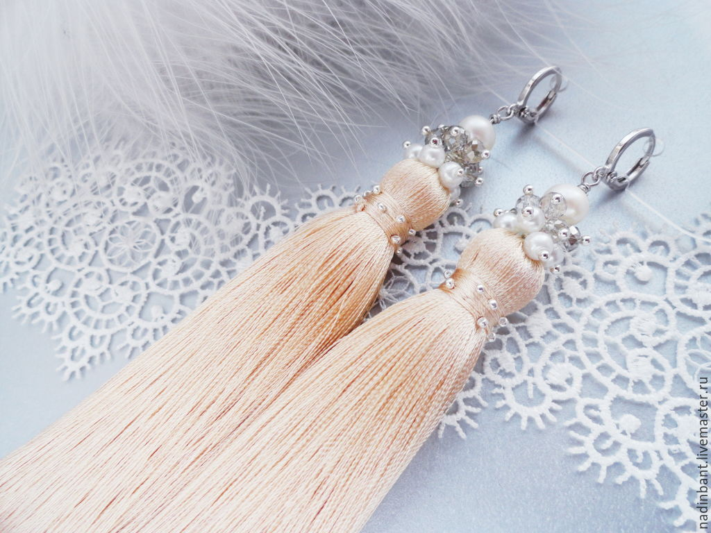 Earring of the brush 'Beige Soft', Tassel earrings, St. Petersburg,  Фото №1