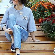 Одежда ручной работы. Ярмарка Мастеров - ручная работа Толстовка свитшот с вышивкой. Handmade.