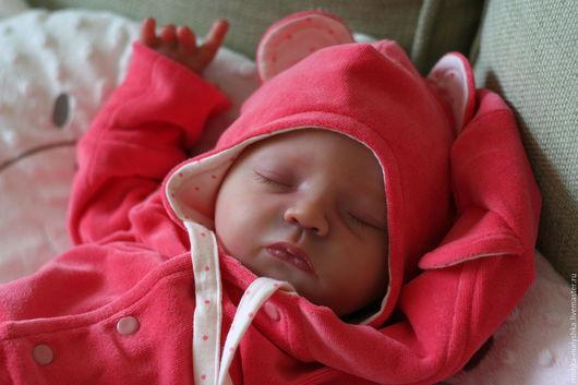 """Для новорожденных, ручной работы. Ярмарка Мастеров - ручная работа. Купить Комплект """"Маленькая медведица"""".. Handmade. Коралловый, мишка, для прогулок"""