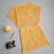 """Одежда ручной работы. Ярмарка Мастеров - ручная работа Вязаный комплект """"Солнечный"""". Топ и юбка, топ-разлетайка крючком. Handmade."""