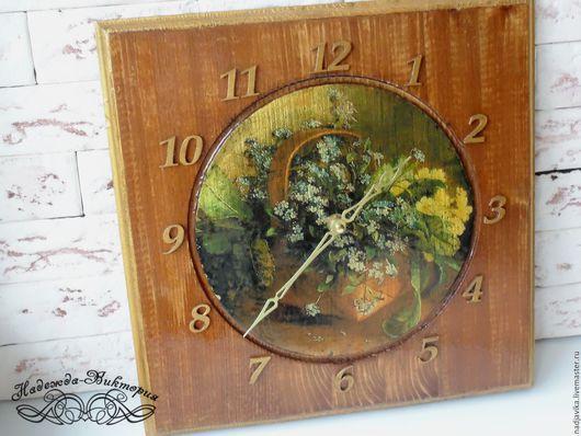 """Часы для дома ручной работы. Ярмарка Мастеров - ручная работа. Купить Часы настенные """"Букет золотых незабудок"""". Handmade."""