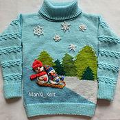 Работы для детей, handmade. Livemaster - original item sweater Funny snowmen knitted baby girl`s family bow. Handmade.