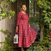 Одежда ручной работы. Ярмарка Мастеров - ручная работа Винтажное платье в красную клетку art.80b. Handmade.