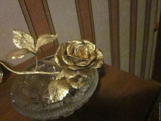 Мини-комоды ручной работы. Ярмарка Мастеров - ручная работа. Купить Розочка для интерьера золотая на веточке. Handmade. Золотой