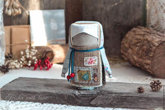"""Народные куклы ручной работы. Ярмарка Мастеров - ручная работа. Купить кукла-оберег Домовушка """"Голубушка"""".. Handmade. Голубой, лён"""