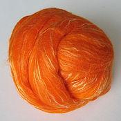 Шерсть ручной работы. Ярмарка Мастеров - ручная работа Смесь Шерсть (оранжевая) 80% + Шелк Малбери (белый) 20%. Handmade.