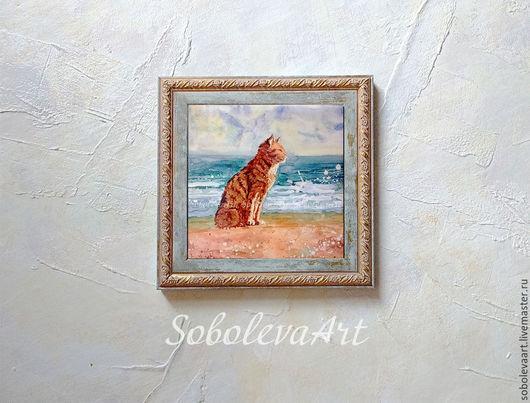 Рыжий Кот. акварель, жикле на плитке.  Автор Соболева Карина