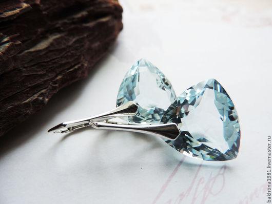 """Серьги ручной работы. Ярмарка Мастеров - ручная работа. Купить Серебряные серьги """"Ренессанс"""". Handmade. Голубой, серьги серебро камни"""