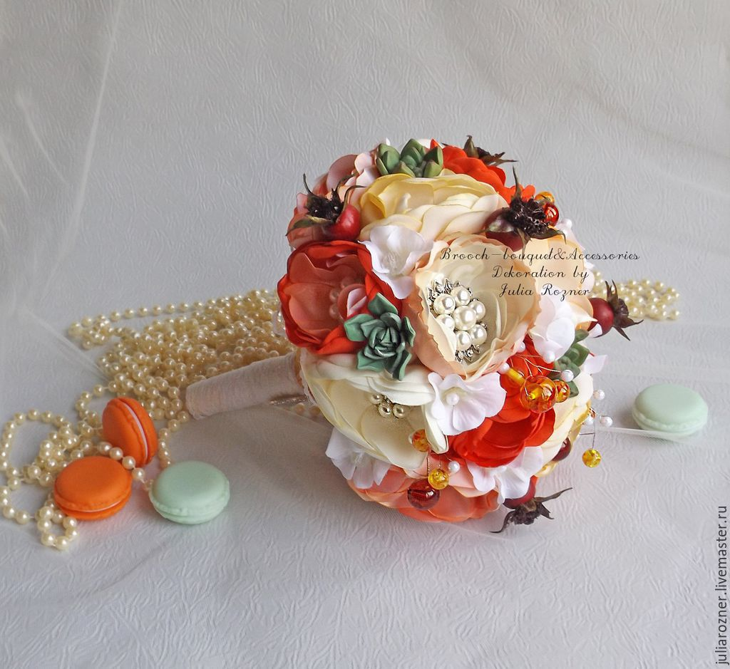Orange brooch bouquet with succulents shop online on livemaster polymer wedding flowers handmade orange brooch bouquet with succulents brooch bouquet by julia rozner izmirmasajfo