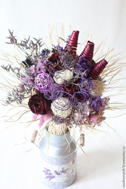 Интерьерные композиции ручной работы. Ярмарка Мастеров - ручная работа. Купить Букет из сухоцветов (сиреневый). Handmade. Сухоцветы, букет, Декор