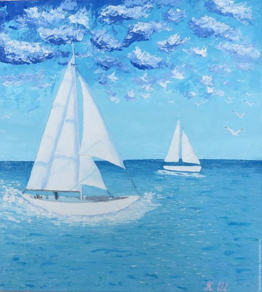 Пейзаж ручной работы. Ярмарка Мастеров - ручная работа. Купить Бриз. Handmade. Синий, морской пейзаж, облака, парусник