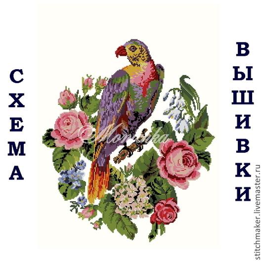Вышивка ручной работы. Ярмарка Мастеров - ручная работа. Купить Схема вышивки Нм-005 Попугай в розах. Handmade.