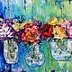 Картины цветов ручной работы. На весу. K&ART. Интернет-магазин Ярмарка Мастеров. Зеленый, картина с цветами, гостиная, масло