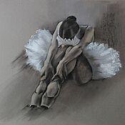 Картины и панно handmade. Livemaster - original item Painting Ballerina (graphics charcoal black white gray). Handmade.