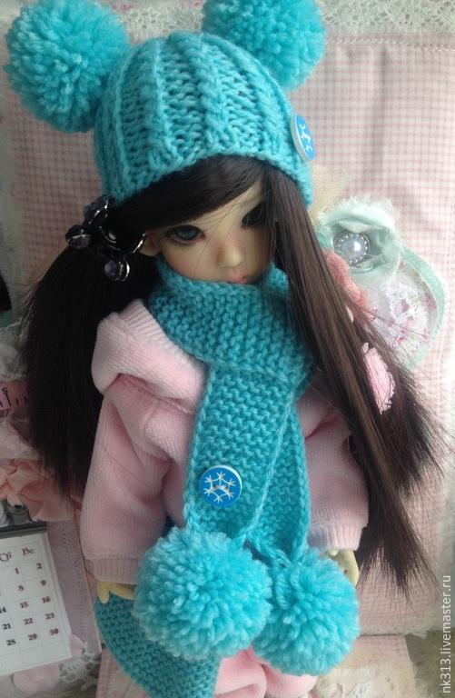 """Одежда для кукол ручной работы. Ярмарка Мастеров - ручная работа. Купить Комплект """"Голубой"""". Одежда для кукол. Handmade. Голубой, шарф"""