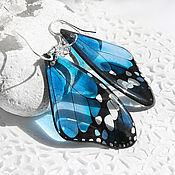 Серьги классические ручной работы. Ярмарка Мастеров - ручная работа Прозрачные серьги Синее крыло бабочки. Handmade.