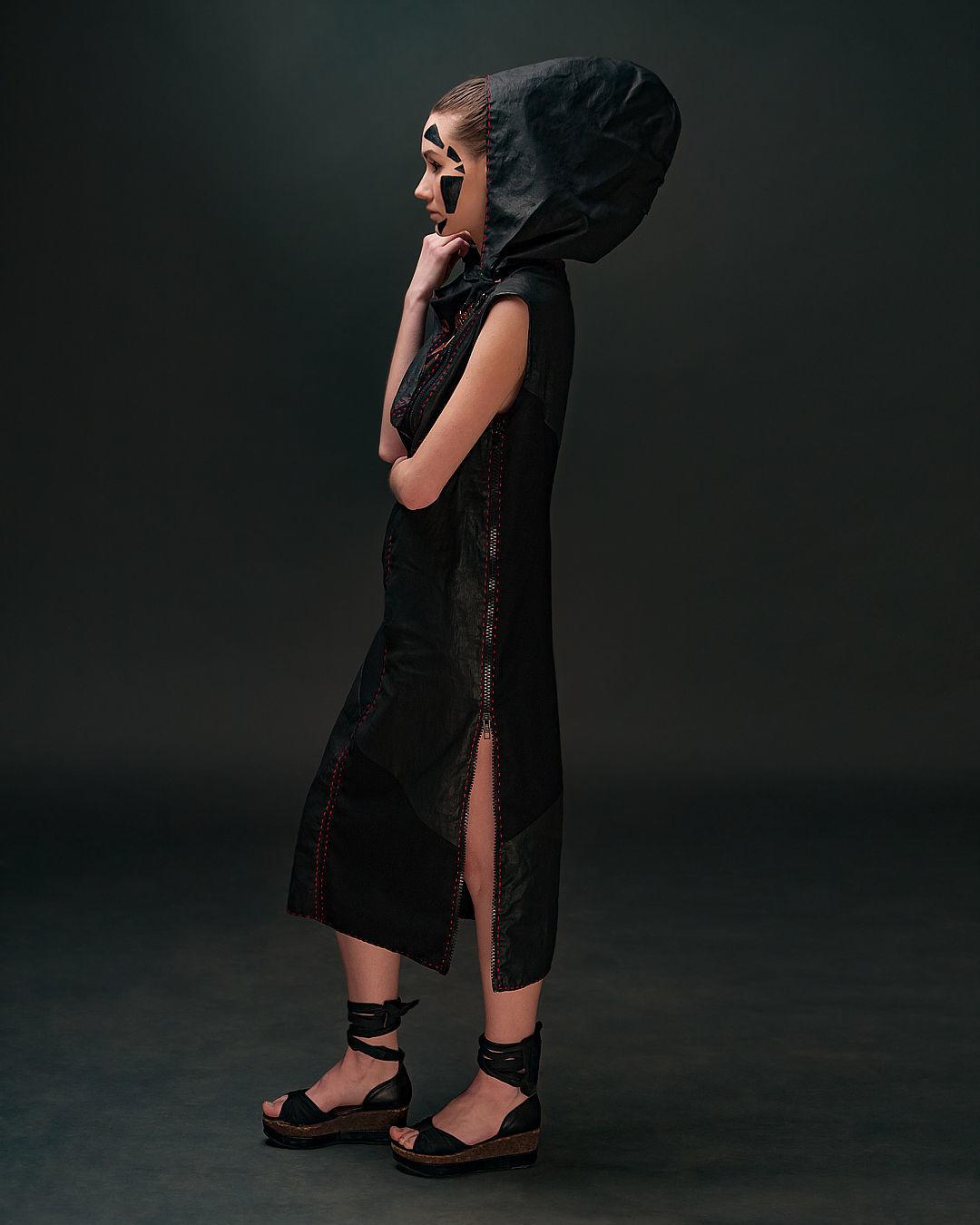 Dresses handmade. Livemaster - handmade. Buy Black Hooded Midi Woolen Dress Linen Decorated Sleeveless Combi Dress.