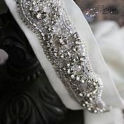 """Аксессуары ручной работы. Ярмарка Мастеров - ручная работа Пояс для свадебного платья """"Серебро"""" : вышивка бисером на шелке. Handmade."""